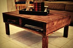 Coffee Table of Reclaimed Pallets | Pallet Furniture Plans