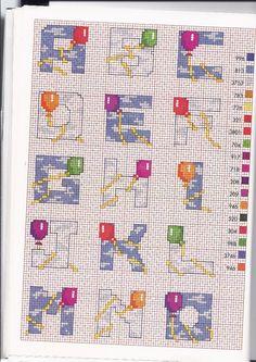 Schema punto croce topolino con palloncini schemi punto for Alfabeto bambini punto croce