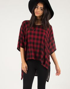 Oversized Checkered Stretchy Tee – 2020AVE