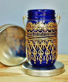 Sundown Mason Lantern--Vibrant blue and golden henna.