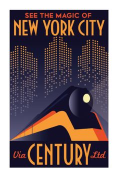Art Deco New York City Manhattan Train Travel Poster. Poster Retro, Poster S, Vintage Travel Posters, Art Deco Artwork, Art Deco Posters, Wpa Posters, Pub Vintage, Photo Vintage, Art Deco Illustration