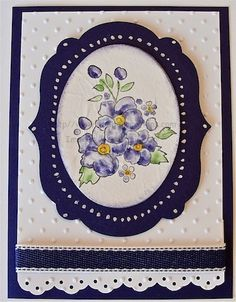 handcrafted greeting card ... die cut navy frame .... Bordering Romance posey ... like the white gel pen dots on the frame ... pretty card ... Stampin' Up!
