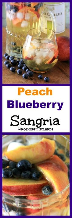 Peach Blueberry White Wine Sangria by Noshing With The Nolands - Made with premium homemade pinot grigio, this cocktail is fruity and fun! Wine making is SO easy!