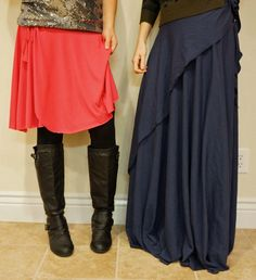 One Seam Wrap Skirt FREE Pattern for long and short versions