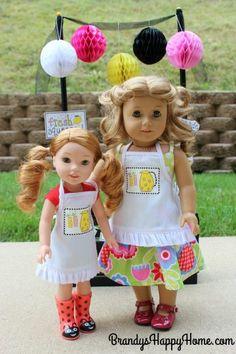 doll lemonade stand aprons