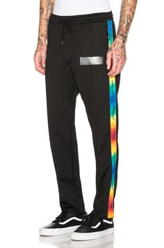 OFF-WHITE ART DAD Time Travelling Track Pants in Black & Multicolor | FWRD