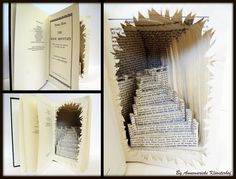 Book filled with hidden stairs. Book cutting art.