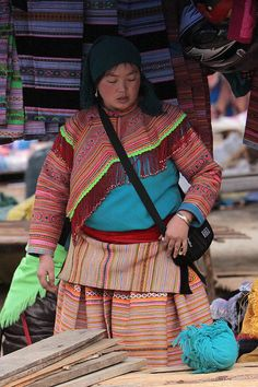 Vietnam - ethnic minorities    Almost all the people at the marketplace of Bac Ha belongs to the Flower Hmong tribe.