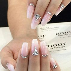 Ombre Wedding Nails Ombre hair is very big right now and ombre nails are jus. - Ombre Wedding Nails Ombre hair is very big right now and ombre nails are just as in-trend. Elegant Nail Designs, Elegant Nails, Nail Art Designs, Diamond Nail Designs, Tattoo Designs, Prom Nails, My Nails, Gel Set, Bridal Nail Art