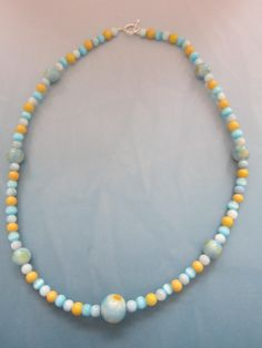 Ceramic Daisy/Yellow and Blue Glass Bead by BeadazzlingButterfly, $24.00