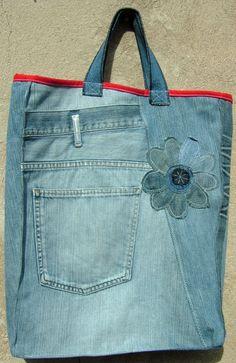 Jeansbeutel mit Blume