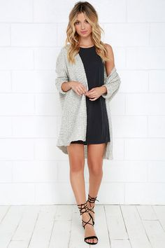 Cozy Light Grey Cardigan Sweater - Open Front Sweater - $60.00