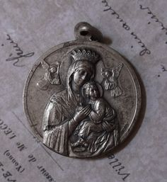 Circa 1960 Vintage Blessed Pope John XXIII & Our Lady Of Perpetual Help Holy Medal Vatican Rome Italy