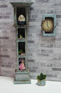 Miniature Dollhouse Furniture- Repurposed Grandfather Clock 1:12 Scale