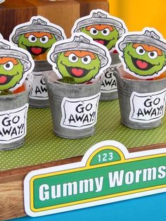 Oscars' Trash Can Favors from a Rustic Whimsical Sesame Street Birthday Party via Kara's Party Ideas | KarasPartyIdeas.com (28)
