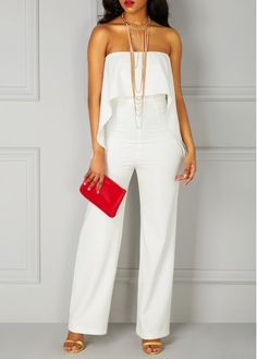 White Ruffle Overlay Strapless High Waist Jumpsuit