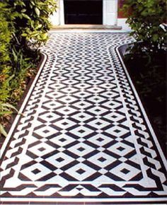 Interesting tile walkway outdoors