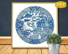 Blue Willow instant download charted design 174x174 stitches   Etsy Needlepoint Patterns, Counted Cross Stitch Patterns, Willow Pattern, Plate Design, Dmc Floss, Bedtime Stories, Bead Crochet, Stitch Design, Couture