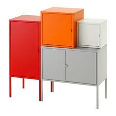 LIXHULT Storage combination, gray/white, orange/red gray/white/orange/red 37 3/8x36 1/4