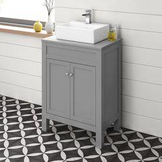600mm Melbourne Grey Countertop Unit & Rita Basin - Floor Standing