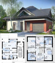 Проект дома Z278. Представляет концептуальный практичный дом со встроенными гаражом, с большой площадью остекления в гостиной. На первом уровне спроектирована дневная зона. Здесь располагается элегантная гостиная, из которой открывается выход на террасу. В этой зоне предусмотрена столовая и просторная открытая кухня. Ночная зона спроектирована на мансарде. Здесь находятся три спальни, выходящие в просторный холл, и общая ванная. House Layout Plans, Dream House Plans, House Layouts, Architectural House Plans, Beautiful Homes, Architecture Design, Sweet Home, New Homes, Floor Plans