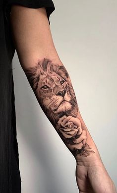 Lion Arm Tattoo, Lion Tattoo Sleeves, Best Sleeve Tattoos, Sleeve Tattoos For Women, Lion And Rose Tattoo, Lower Arm Tattoos, Leg Tattoos, Body Art Tattoos, Girl Tattoos