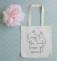 Perfect for a #DestinationWedding! Beach Wedding Theme Welcome Tote Bag. $10.00, via Etsy.