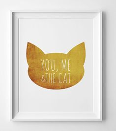 Gold Print You Me And The Cat Gift for cat por WallArtPrintables