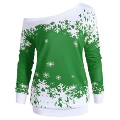 Gamiss Plus Size One Shoulder Christmas Snowflake Sweatshirt Women Autumn Winter Tops Pullover Tracksuit Hoodies Big Size Hoodie Sweatshirts, Hoodies, Blouses For Women, Sweaters For Women, Mini Car, Jumper Shirt, Winter Tops, Plus Size, Chairs