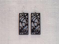 Black abstract hollow rectangular earrings - Laser cut plexiglass on Etsy, $15.00
