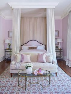 Pink grown-up bedroom features a pink arch headboard on bed dressed in pink silk bedding tucked under a ceiling mount canopy accented with cream sheer curtains flanked by mirrored nightstands, Borghese Mirrored Dressers, and white gourd lamps. Blush Bedroom, Pink Bedroom Design, Pink Bedroom Decor, Pink Bedroom For Girls, Pink Bedrooms, Dream Bedroom, Pink Master Bedroom, Bedroom Ideas, Shabby Bedroom