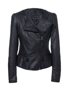 LEATHER JACKET WITH RUFFLE DETAIL