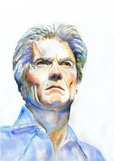 CLINT EASTWOOD Art Print from Original Watercolor by workingwoman