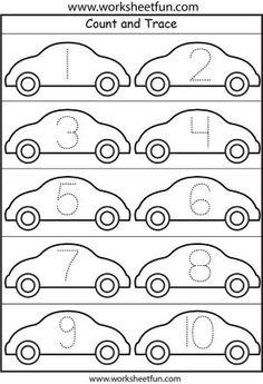 Number Tracing – – One Worksheet / FREE Printable Worksheets Preschool Number Worksheets, Numbers Preschool, Tracing Worksheets, Preschool Learning, Kindergarten Worksheets, Worksheets For Kids, Preschool Activities, Teaching, Cars Preschool