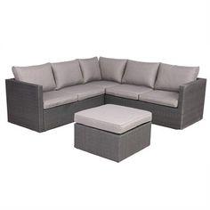 Lesa 3 Piece Outdoor Wicker Sofa Loung Set - Grey/Charcoal $959 Wicker Sofa, Outdoor Furniture, Outdoor Decor, Bungalow, 3 Piece, Charcoal, Backyards, Yard Ideas, Grey