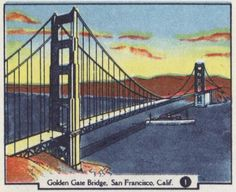 Vintage illustration of the famous Golden Gate Bridge in San Francisco, California. This original artwork was portrayed on AAA's 1958 California & Nevada road map.
