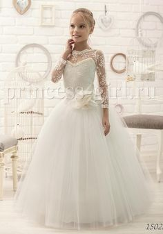 Cheap girls dress, Buy Quality girls dress elegant directly from China flower girl Suppliers: New custom white ivory sheer lace long sleeves flower girl dresses elegant tulle first communion gown formal occasion 2017 new Ivory Flower Girl Dresses, Lace Flower Girls, Little Girl Dresses, Girls Dresses, Tulle Dress, Lace Dress, Confirmation Dresses, Catholic Confirmation, Holy Communion Dresses