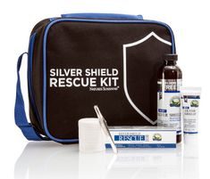 SILVER SHIELD RESCUE KIT  This zippered go-anywhere tote is loaded with Silver Shield products (6 fl. oz. Liquid, 1 oz. Rescue Gel and 1 oz. Purifying Cleansing Gel) plus an assortment of sterile bandages, gauze, wrap, tweezers, scissors and tape. Keep one in the car and give one to your favorite college student!