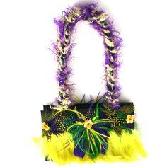 Mardi Gras Feather Purse