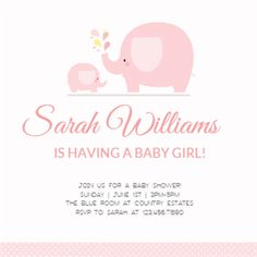 """""""Pink Baby Elephant"""" printable invitation template. Customize, add text and photos. Print or download for free!"""