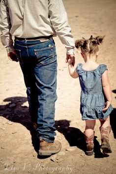 "Daddy and his Little Cowgirl. I want to take a picture like this of brad and laura...1 with his tall tops on and her with her pants tucked in and another with his ""rodeo"" clothes on and her in her rodeo clothes."