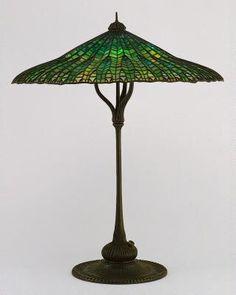 """mandarin"" (lotus leaf) lamp | tiffany (1900-1905).."
