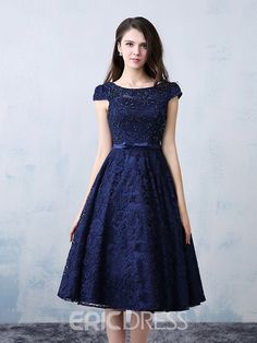 <img> Vintage Lace Beading Boat Neck Cap Sleevels A-line Knee Length Cocktail Dress 11607396 – Cocktail Dresses 2016 – Dresswe. Prom Party Dresses, Homecoming Dresses, Sexy Dresses, Beautiful Dresses, Fashion Dresses, Dresses With Sleeves, Elegant Dresses, Summer Dresses, Formal Dresses