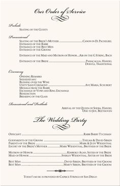 wedding programs sample one page | Details about 1 CUSTOM MADE ...