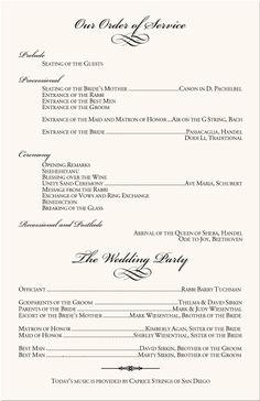 Wedding Programs Program Wording Samples Examples Templates