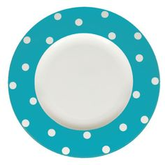 Red Vanilla Freshness Turquoise Dots 11.25-inch Dinner Plates (Set of 6)