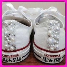 Pearl Converse and Wedding Converse / Vans / Nike / Pumps Silver Swarovski Diamonte / Diamante Hand Made To Order US 5 - 10 UK 3- 8 AU 5 - 1