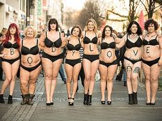 People of All Shapes and Sizes Walk the Streets of Germany in Lingerie for #BodyLove Campaign http://www.people.com/article/real-people-pose-underwear-germany-body-positivity - lingerie boutique, fantasy lingerie, srxy lingerie *ad