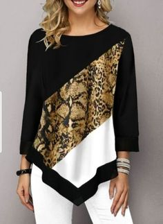 Women Fashion Printed Casual Irregular Hem Round Neck Sleeves Plus Size Leopard Print T-Shirt Loose Pullover Autumn Winter Blouse Trendy Tops For Women, Blouses For Women, Winter Blouses, Leopard Blouse, Loose Fitting Tops, Fall Shirts, Long Blouse, Plus Size Tops, Tunic Tops