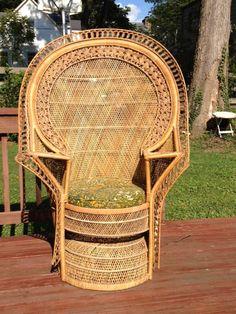 Mid Century Hollywood Regency Peacock Fan Chair